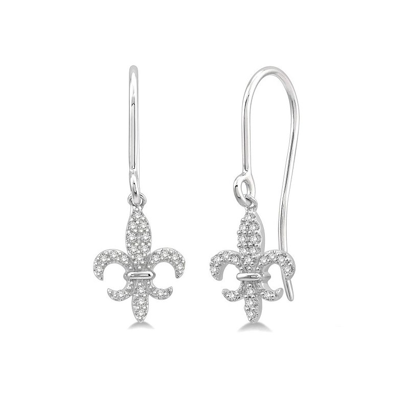 1/8ct tw Diamond Fleur De Lis Earrings in 10K White Gold