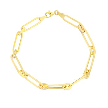 1/3ct tw Diamond Paperclip Chain Bracelet in 14K  Yellow Gold