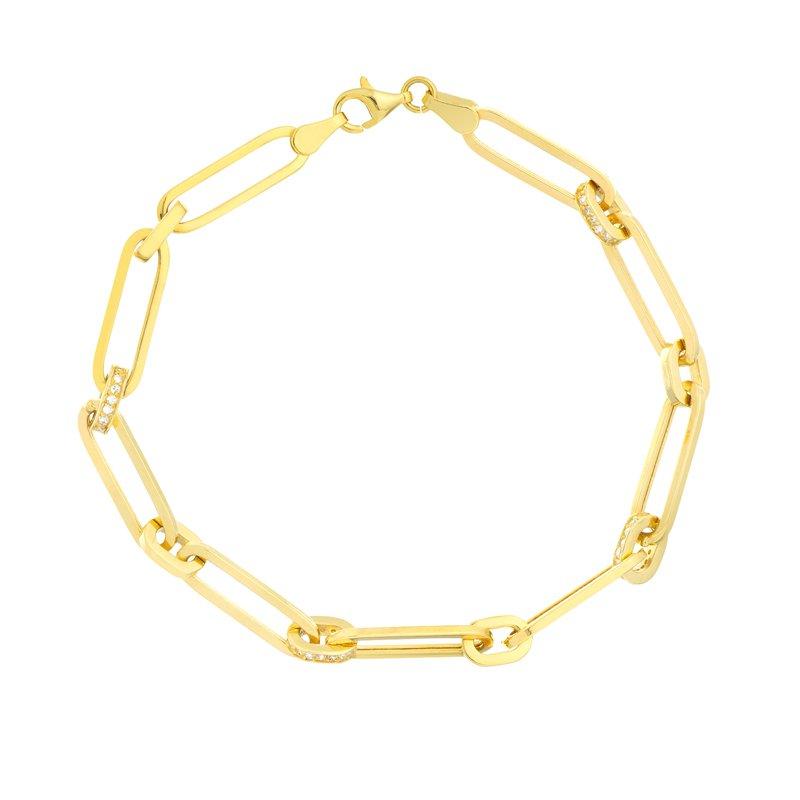 1/3ct tw Diamond Paper Clip Chain Bracelet in 14K  Yellow Gold