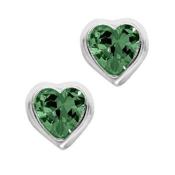 May Birthstone Heart Earrings in Sterling Silver