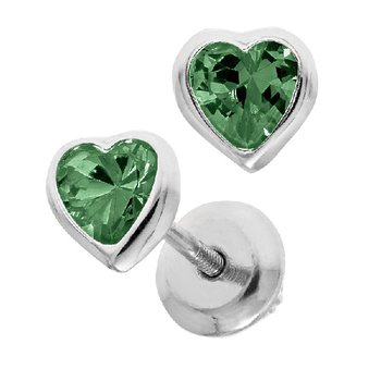 May Birthstone Heart Earrings in Sterling Silver