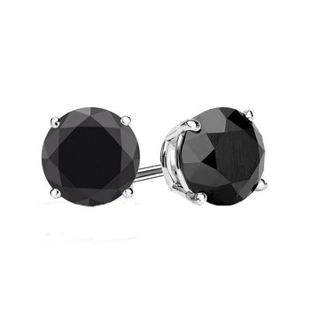 3ct tw Black Diamond Solitaire Stud Earrings in 10K White Gold