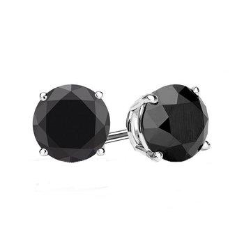 3ct tw Black Diamond Solitaire Stud Earrings in 10K White Gold