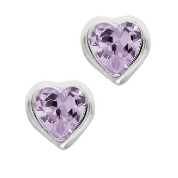 June Birthstone Heart Earrings in Sterling Silver