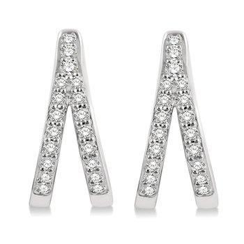 1/5ct tw Diamond Split Hoop Earrings in 10K White Gold