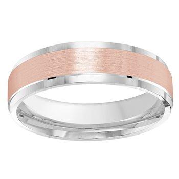 6mm Wedding Ring in 10K White & Rose Gold