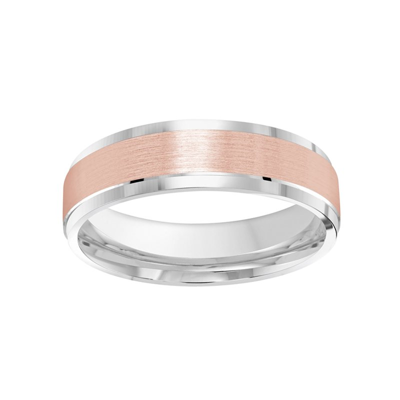 6mm Wedding Ring in 10K White & Rose Gold