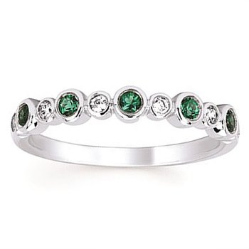 1/10ct tw Diamond & Created Emerald May Birthstone Ring in 14K White Gold