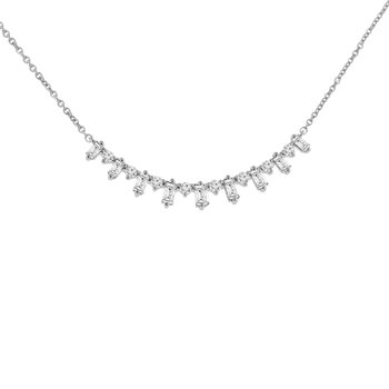 3/8ct tw Diamond Bar Necklace in 14K White Gold