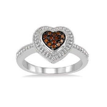1/10ct tw Diamond Heart Fashion Ring in Sterling Silver