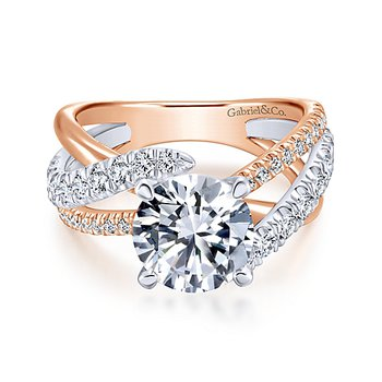 2 1/4ct tw Diamond Engagement Ring in 14K White & Rose Gold