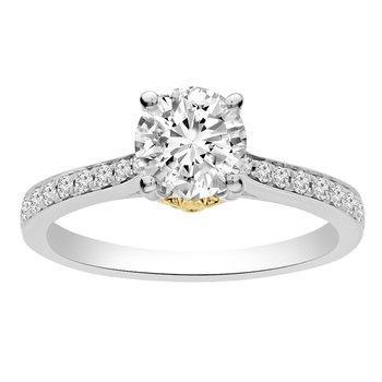 1 1/4ct tw NewBorn Lab Created Diamond Fleur De Lis Engagement Ring in 14K White & Yellow Gold