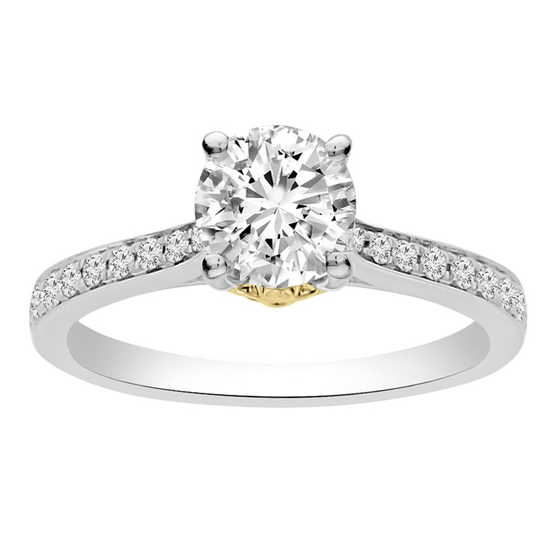 1 1/4ct tw NewBorn Lab Created Diamond Fleur De Lis Engagement Ring in 14K White & Yellow Gold