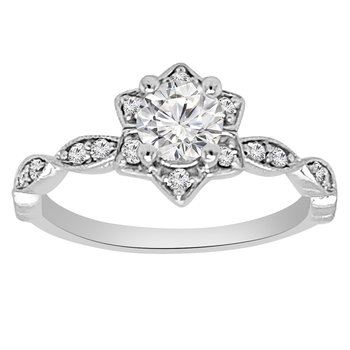 1/8ct tw NewBorn Lab Created Diamond Halo Engagement Ring Setting in 14K White Gold