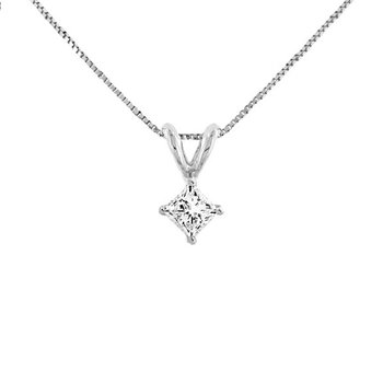 1/3ct tw Diamond Solitaire Necklace in 14K White Gold