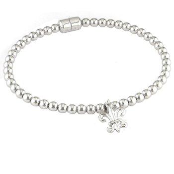 1/14ct tw Diamond Fleur de Lis Bracelet in Sterling Silver and Stainless Steel
