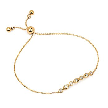 1/5ct tw Diamond Bolo Bar Necklace in 14K Yellow Gold