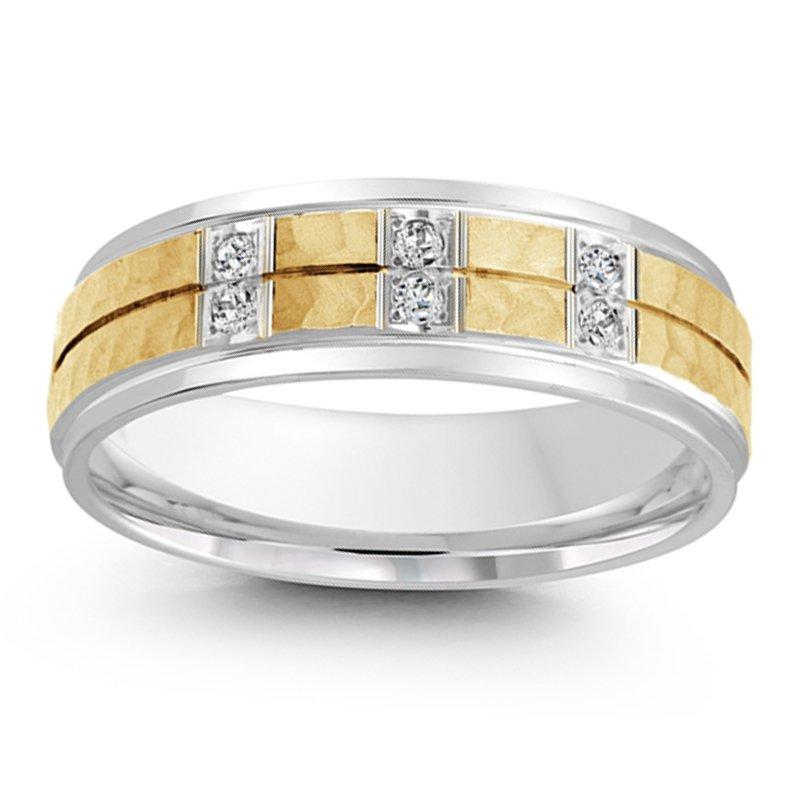 1/10ct tw Diamond Wedding Ring in 14K White & Yellow Gold