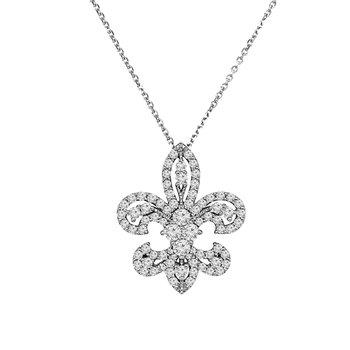 1ct tw NewBorn Lab Created Diamond Fleur de Lis Necklace in 14K White Gold