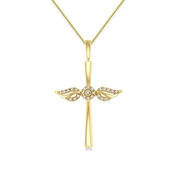 1/10ct tw Diamond Cross Necklace in 10K Yellow Gold