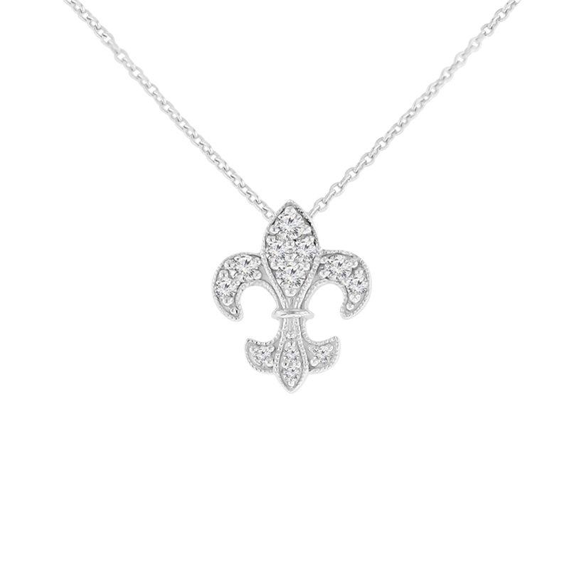 1/4ct tw Diamond Fleur De Lis Necklace in Sterling Silver