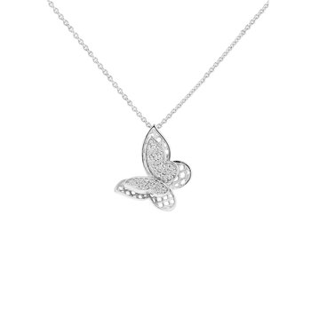 1/10ct tw Diamond Garden District Collection Butterfly Necklace in Sterling Silver