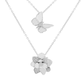 1/8ct tw Diamond Garden District Collection Butterfly & Magnolia Layered Necklace in Sterling Silver