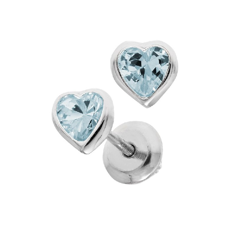 March Birthstone Heart Earrings in Sterling Silver