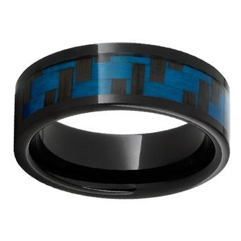 8mm First Responder Wedding Ring in Bright Blue Carbon Fiber & Black Ceramic