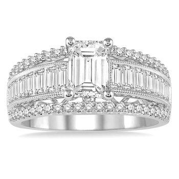 1ct tw Diamond Engagement Ring Setting in 14K White Gold