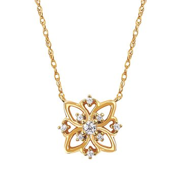 1/14ct tw Diamond Floral Necklace in 14K Yellow Gold