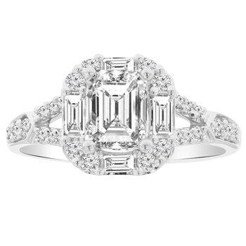 1 1/2ct tw NewBorn Lab Created Diamond Halo Engagement Ring in 18K White Gold