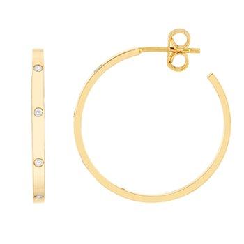 .03ct tw Diamond Hoop Earrings in 14K Yellow Gold
