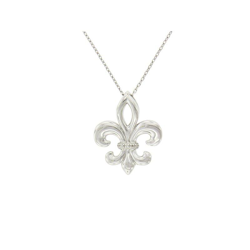 .02ct tw Diamond Fleur De Lis Necklace in Sterling Silver