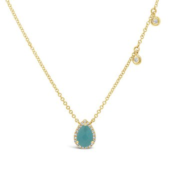 5/8ct tw Diamond & Amazonite Halo Necklace in 14K Yellow Gold