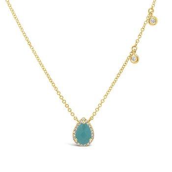 5/8ct tw Diamond & Amazonite Halo Necklace in 14K Yellow Gold