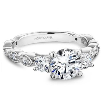 3/8ct tw Diamond Three Stone Engagement Ring Setting in 14K White Gold