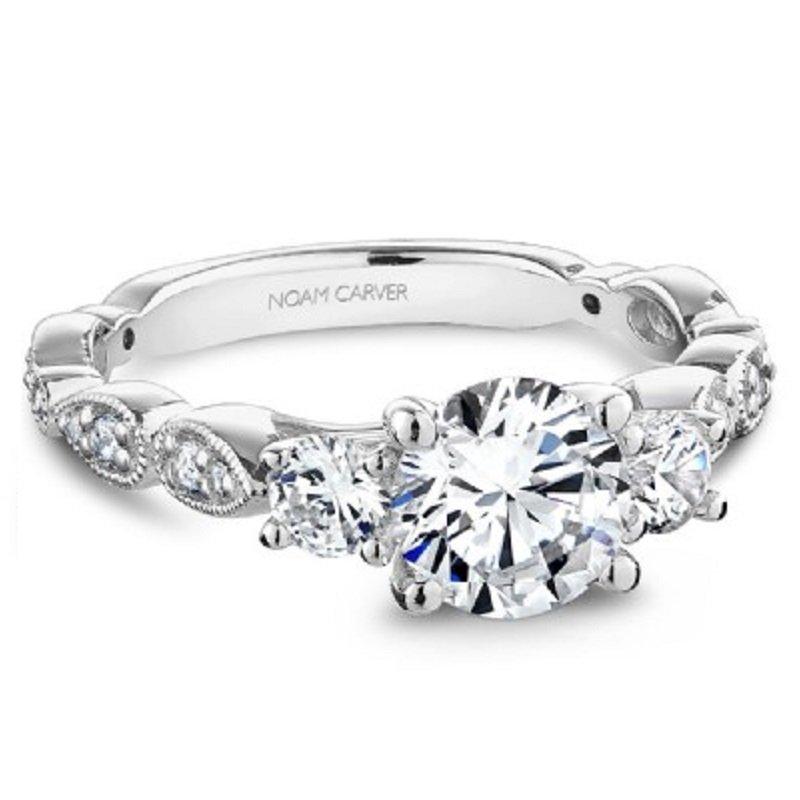 3/8ct tw Diamond Three Stone Engagement Ring Setting in 14K White Gold