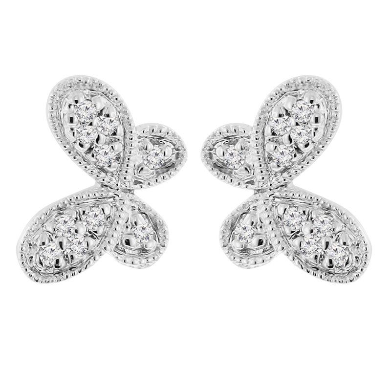 1/14ct tw Diamond Butterfly Stud Earrings in 14K White Gold