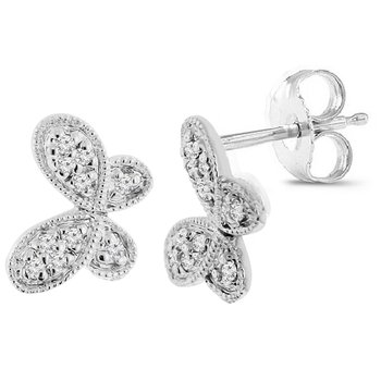 1/14ct tw Diamond Butterfly Stud Earrings in 14K White Gold