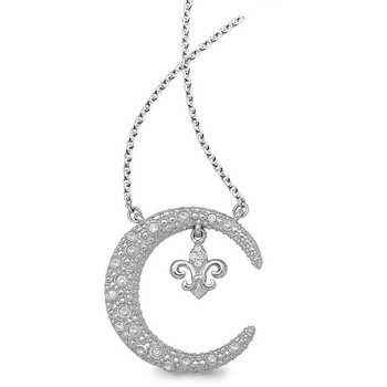 1/8ct tw Diamond Nola Collection Crescent Moon & Fleur De Lis Necklace in Sterling Silver