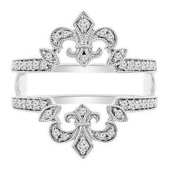 1/4ct tw Diamond Fleur De Lis Wedding Ring Guard in 14K White Gold