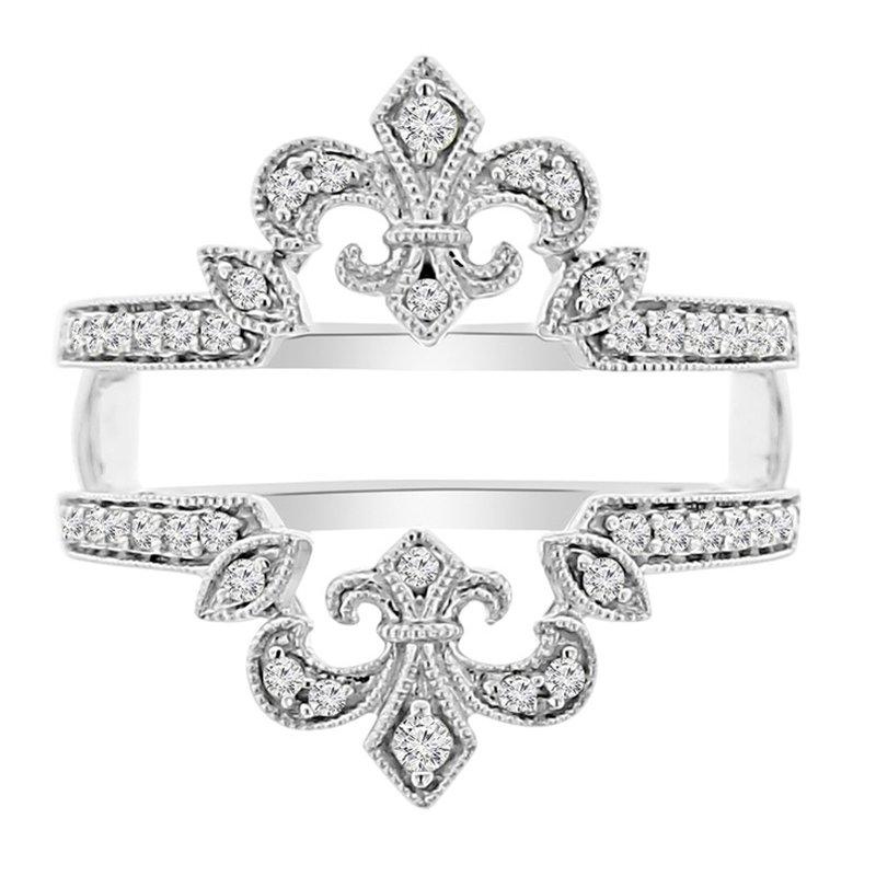 1/4ct tw Diamond Fleur De Lis Wedding Ring Guard in 14K White Gold