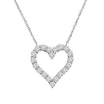 1ct tw NewBorn Lab Created Diamond Heart Necklace in 14K White Gold