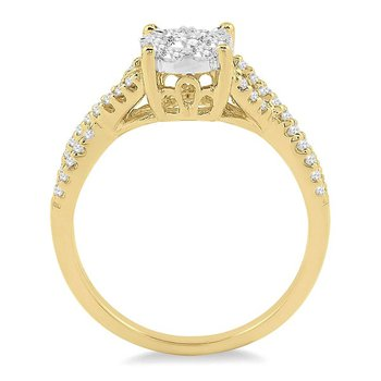 5/8ct tw Diamond Thousand Points of Light Engagement Ring in 14K White & Yellow Gold