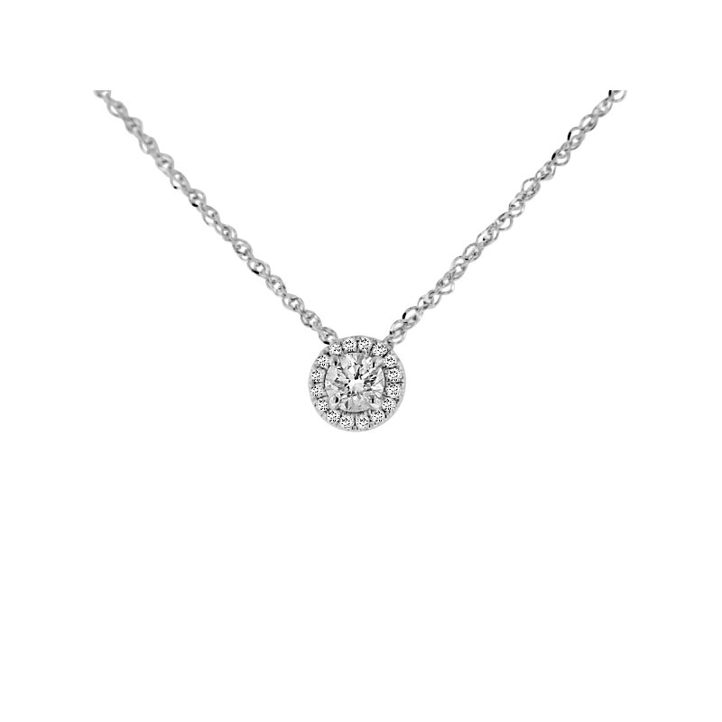 3/8ct tw Diamond Halo Necklace in 18K & 14K White Gold
