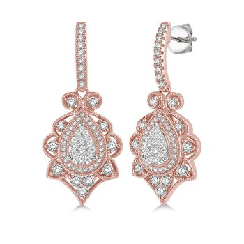 1 1/8ct tw Diamond Thousand Points of Light Earrings in 14K White & Rose Gold
