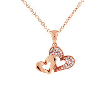 1/8ct tw Diamond Heart Necklace in 14K Rose Gold