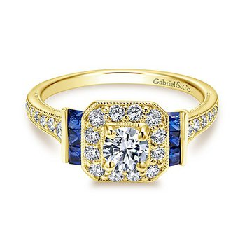 3/4ct tw Diamond & Blue Sapphire Engagement Ring in 14K Yellow Gold