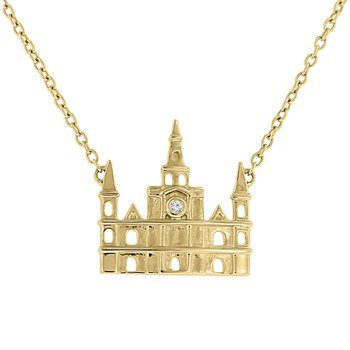 .01ct tw Diamond Nola Collection Cathedral Necklace in 10K Yellow Gold